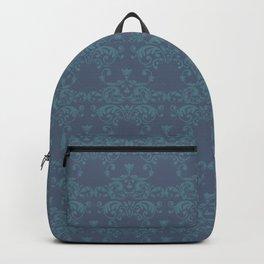 Vintage teal blue elegant floral damask Backpack