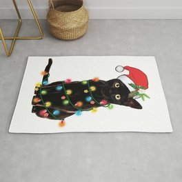 Santa Black Cat Tangled Up In Lights Christmas Santa Graphic Rug