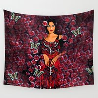 roses Wall Tapestries featuring Roses  by Saundra Myles