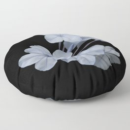 Pale Blue Plumbago Isolated on Black Background Floor Pillow