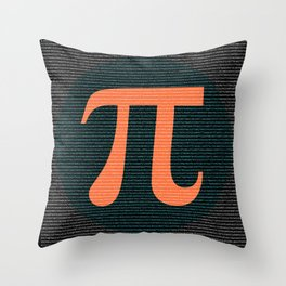 First 10,000 digits of Pi, blue and orange. Throw Pillow
