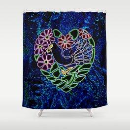 Gothic Bird in Heart Shower Curtain