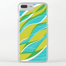 Ocean kelp in turquoise and green Clear iPhone Case