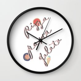 Pizza Pasta Gelata - Calligraphy Wall Clock