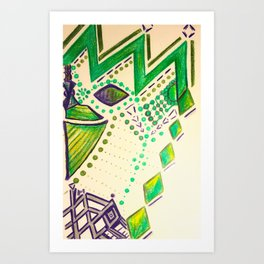 Green Diamonds Art Print