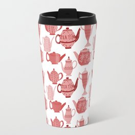 Vintage Tea Pots Time for Tea Red and Pink on White Art Travel Mug