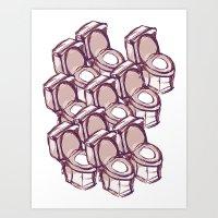 toilet Art Prints featuring TOILET THEATHRE  by Sofia Youshi