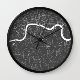 Gray on White London Street Map Wall Clock