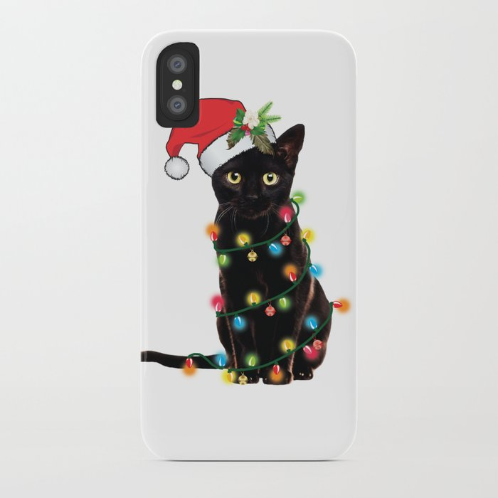 santa black cat tangled up in lights christmas santa t-shirt iphone case