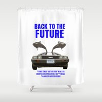 back to the future Shower Curtains featuring Back To The Future by FunnyFaceArt