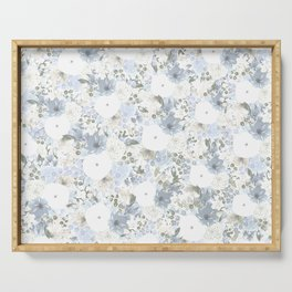 Light Blue Floral Pattern Serving Tray