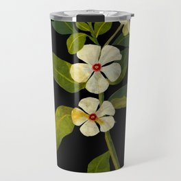 Mary Delany Vinca Rosea Vintage Botanical Art Black Background Realistic Floral Arrangement Travel Mug