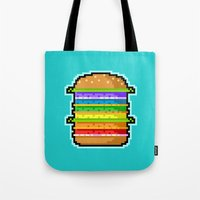 hamburger Tote Bags featuring Pixel Hamburger by Sombras Blancas Art & Design