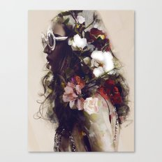 The girl with the flowers in her hair Canvas Print