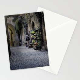 Woman Watering Flowers, Orvieto, Italy Stationery Cards