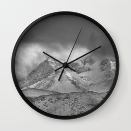 """Wild mountains"". BW Wall Clock"
