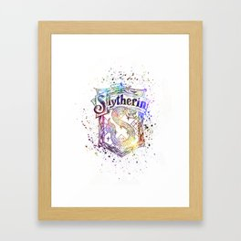 Slytherin House silhouette splatter Framed Art Print