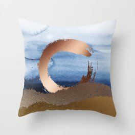 Inspiration: Gold, Copper And Blue Throw Pillow
