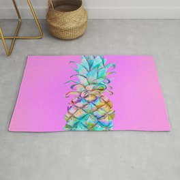 Pink Rainbow Color Splash Pineapple Rug