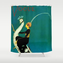 Vintage 1920's Jazz Age Flapper with White Peacock Fashion Poster Shower Curtain