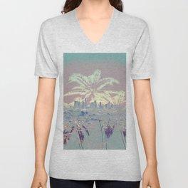 Palm Trees over L.A. Unisex V-Neck