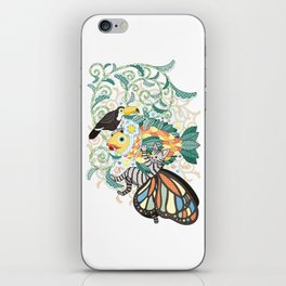 Plant fish and Butterfly cat and Toco toucan (remake) iPhone Skin