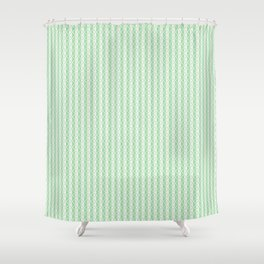 Pastel Mint Green & Linen Off White Vertical Stripes w/ Diamond Grid 2020 Color of The Year Neo Mint Shower Curtain