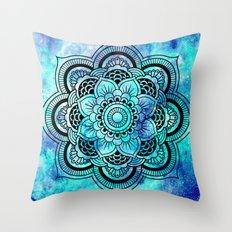 Galaxy Mandala Aqua Indigo Throw Pillow