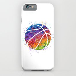 Basketball Ball Colorful Watercolor Sports Art iPhone Case
