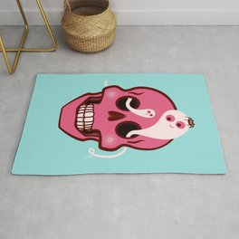 Cute Skull With Spider And Ghosts In Eye Sockets Rug