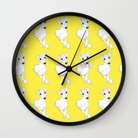 puppies Wall Clocks featuring whippet puppies  by Emese M