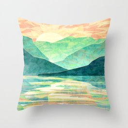 Spring Sunset over Emerald Mountain Landscape Painting Throw Pillow