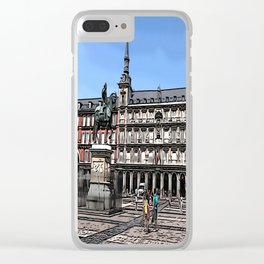 Comic Art of plaza in Madrid, Spain Clear iPhone Case