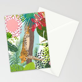 Lazy Jungle Cat, Bold Colorful Botanical Abstract Stationery Cards