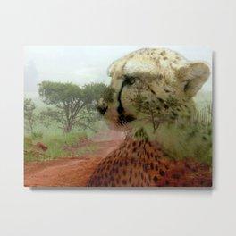 Cheetah In The Wilderness By Annie Zeno  Metal Print