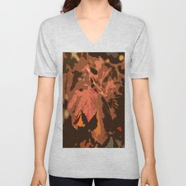 Abstract Fall Leaves Unisex V-Neck