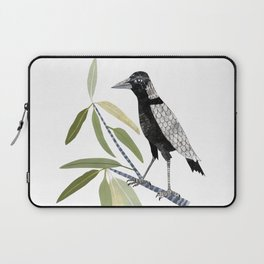 Magpie on a Gum Leaf  Branch Laptop Sleeve