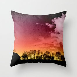 rural silhouettes Throw Pillow