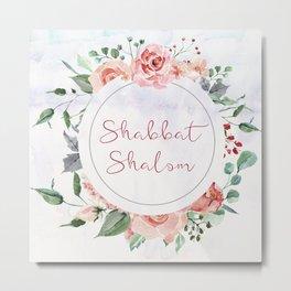 Watercolor Flowers Shabbat Shalom Jewish Art Metal Print