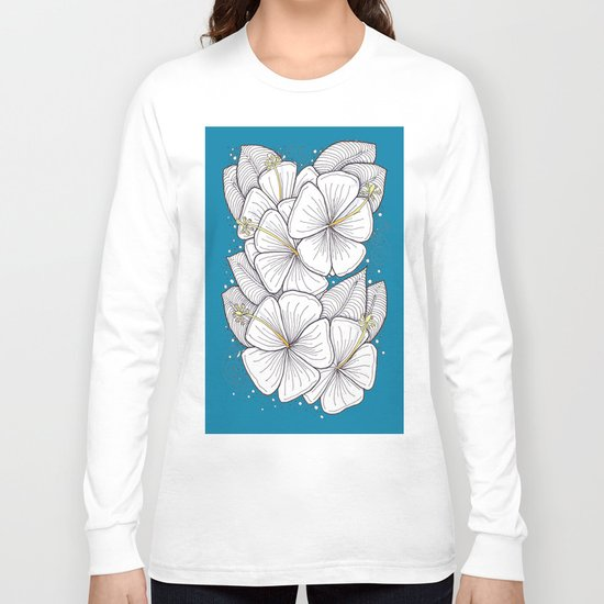 Zentangle Blue and Gold Hibiscus Blossoms for Flower Lovers Long Sleeve T-shirt