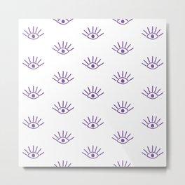 Purple Evil Eye Pattern Metal Print