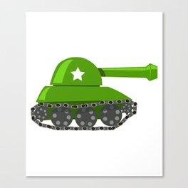Cartoon Green Tank Canvas Print