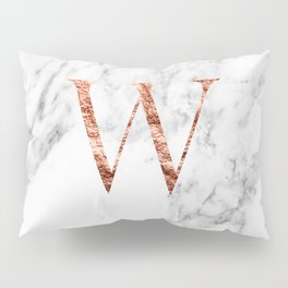 Monogram rose gold marble W Pillow Sham