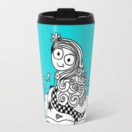 a cute little mermaid on a rock Travel Mug