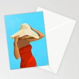 At The Beach: Red Suit Stationery Cards