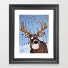 Winter Buck Framed Art Print