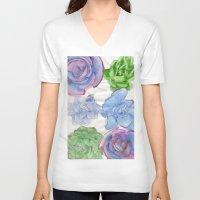succulents V-neck T-shirts featuring Succulents by Kate Havekost Fine Art