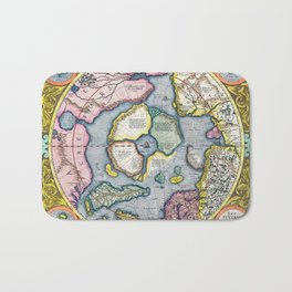 Vintage Map of the Arctic, 1606 Bath Mat