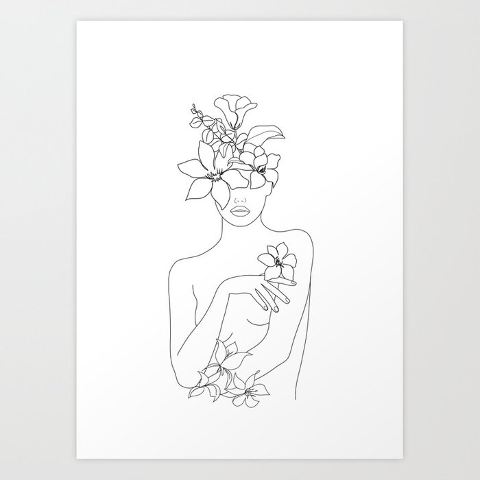 Minimal Line Art Woman with Flowers IV Kunstdrucke