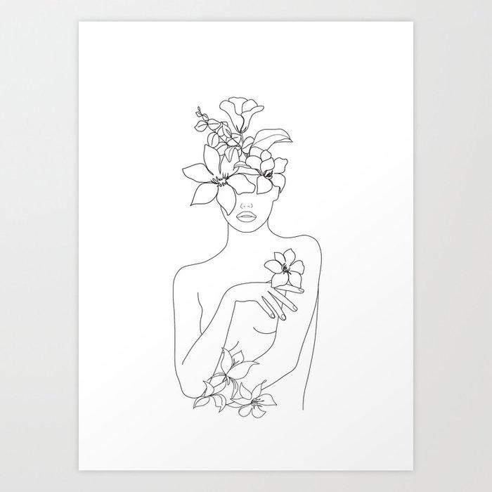 Minimal Line Art Woman with Flowers IV Art Print